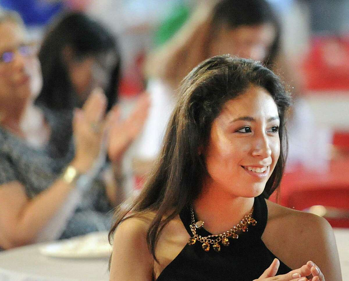 Lizeth Bermeo-Garcia, 17, a Greenwich High School senior smiles during her AVID Graduation Ceremony in the student center at Greenwich High School, Conn., Thursday, June 1, 2017. Bermeo-Garcia said she will attending Mount Ida College in the fall. The Advancement Via Individual Determination program (AVID), targets students in the academic middle and mentors them throughout their school years to prepare them to succeed in college.