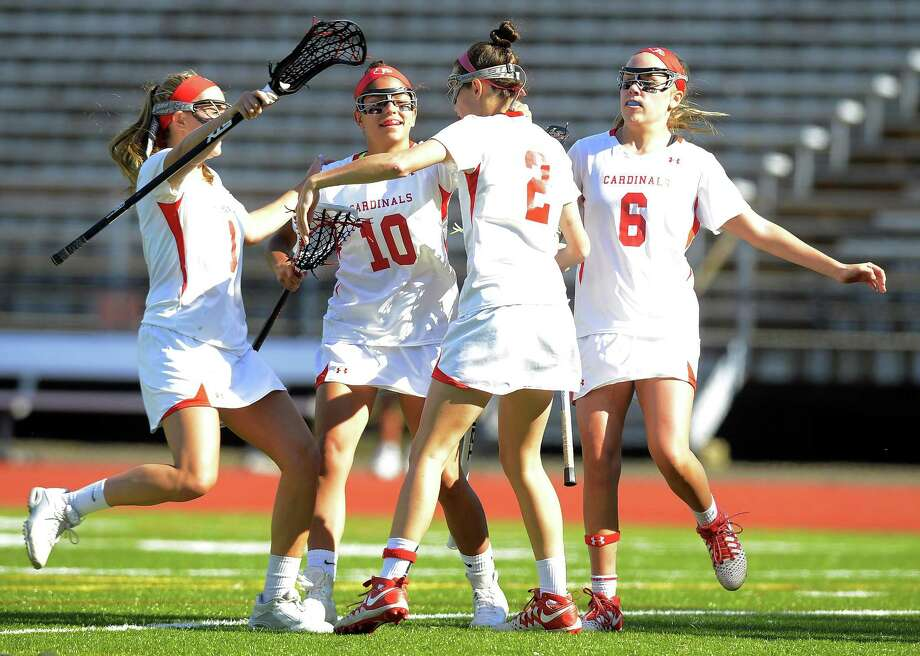 Greenwich celebrates following a goal from Paige Finneran (2) in the first half against Staples during a Class L quarterfinal game Thursday at Greenwich High School. Photo: Matthew Brown / Hearst Connecticut Media / Stamford Advocate