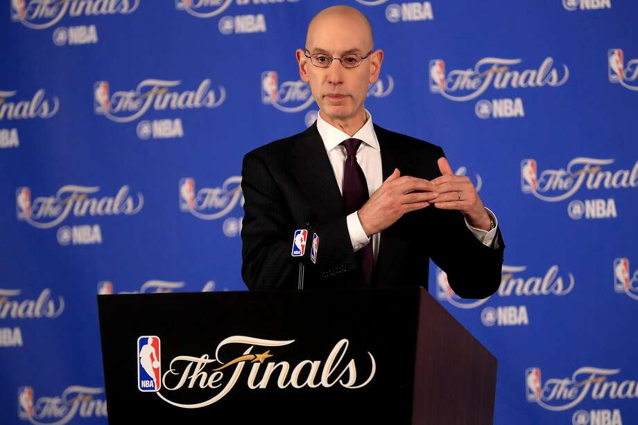 NBA Commissioner Adam Silver speaks to the media before Game 1 of the 2017 NBA Finals at ORACLE Arena on June 1, 2017 in Oakland, California. Photo: Ronald Martinez, Getty Images