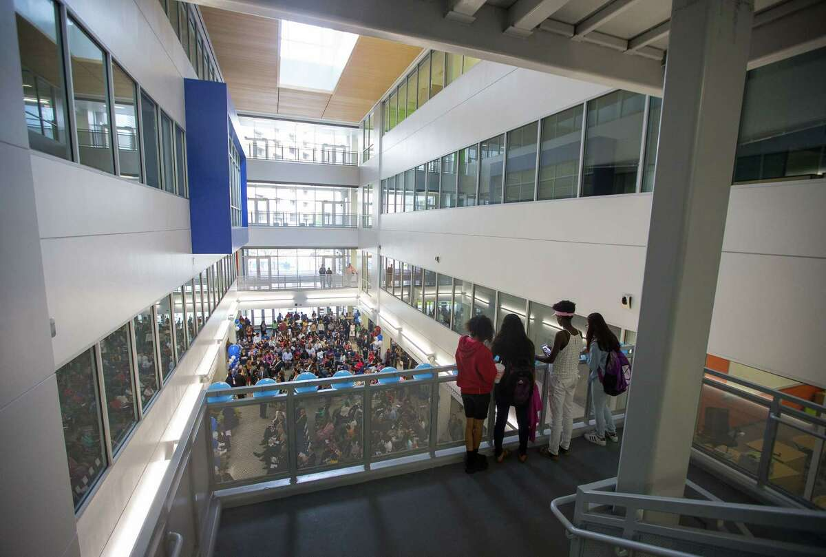 Students and visitors fill the new Michael E. DeBakey High School for Health Professionals during a grand opening celebration for the new building in the Texas Medical Center, Thursday, June 1, 2017, in Houston.
