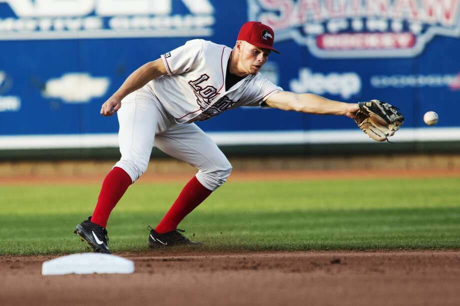 The Great Lakes Loons infielder Gavin Lux attempts to field a ground ball in a game against The West Michigan Whitecaps at Dow Diamond on Thursday. Photo: Theophil Syslo
