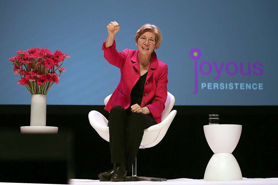 "Democratic Sen. Elizabeth Warren of Massachusetts speaks at the ""Joyous Persistence"" pep rally for progressives at the Palace of Fine Arts theater in San Francisco. Photo: Liz Hafalia, The Chronicle"