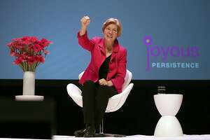 U.S. Senator Elizabeth Warren from Massachusetts speaks at Susie Buell's Joyous Persistence at the Palace of Fine Arts theater on Thursday, June 1, 2017, in San Francisco, Calif.