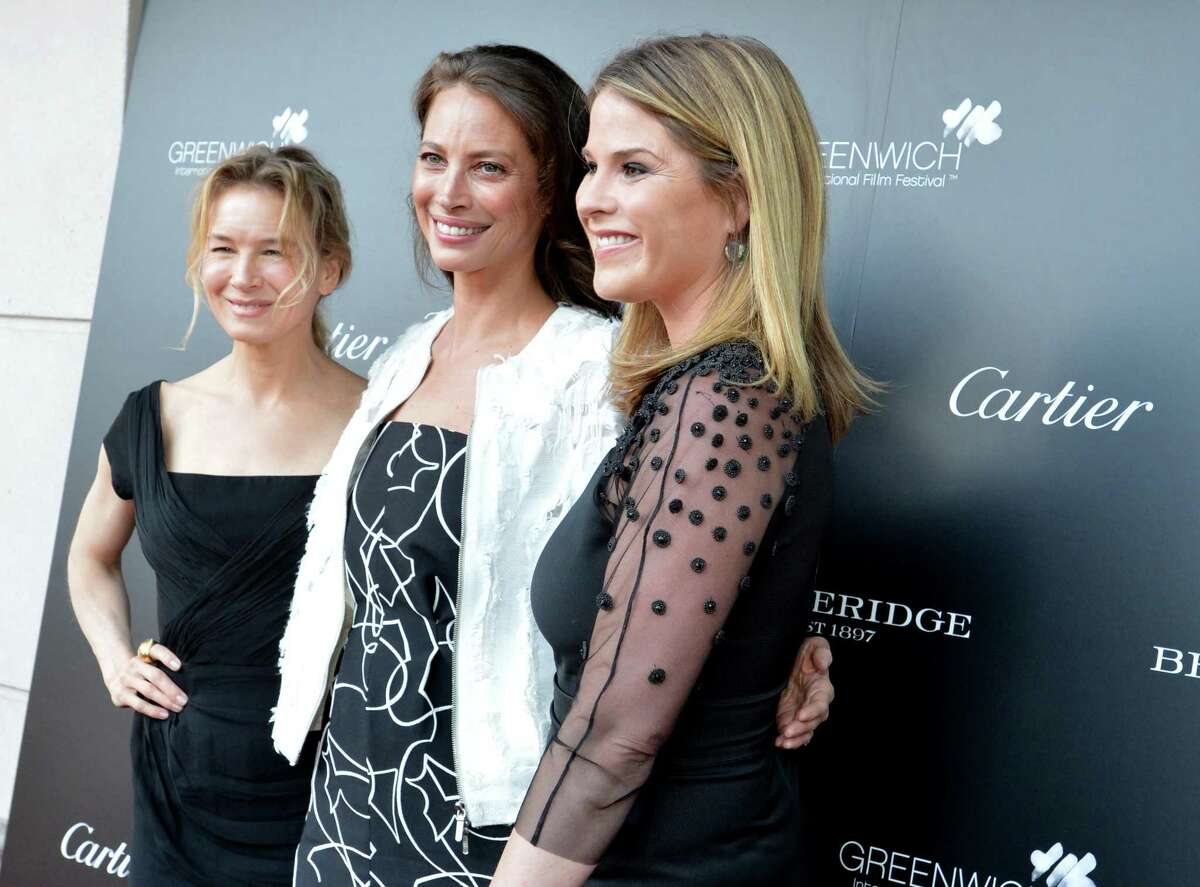 Renée Zellweger and Christy Turlington Burns are joined at the the 3rd annual Changemaker Honoree Gala by Community Changemaker Jenna Bush Hager joins them on the red carpet at the cocktail reception at Betteridge Jewelers to kick off the 2017 Greenwich International Film Festival on Thursday June 1, 2017 in Greenwich Conn.