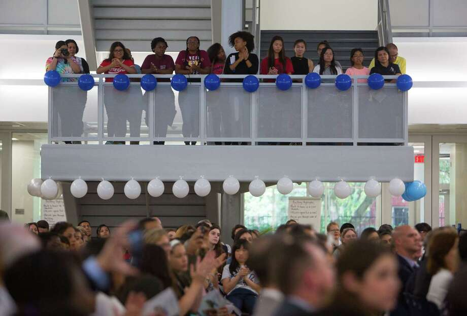 Students and visitors fill the new Michael E. DeBakey High School for Health Professionals during a grand opening celebration for the new building in the Texas Medical Center, Thursday, June 1, 2017, in Houston. (Mark Mulligan / Houston Chronicle) Photo: Mark Mulligan, Staff Photographer / 2017 Mark Mulligan / Houston Chronicle