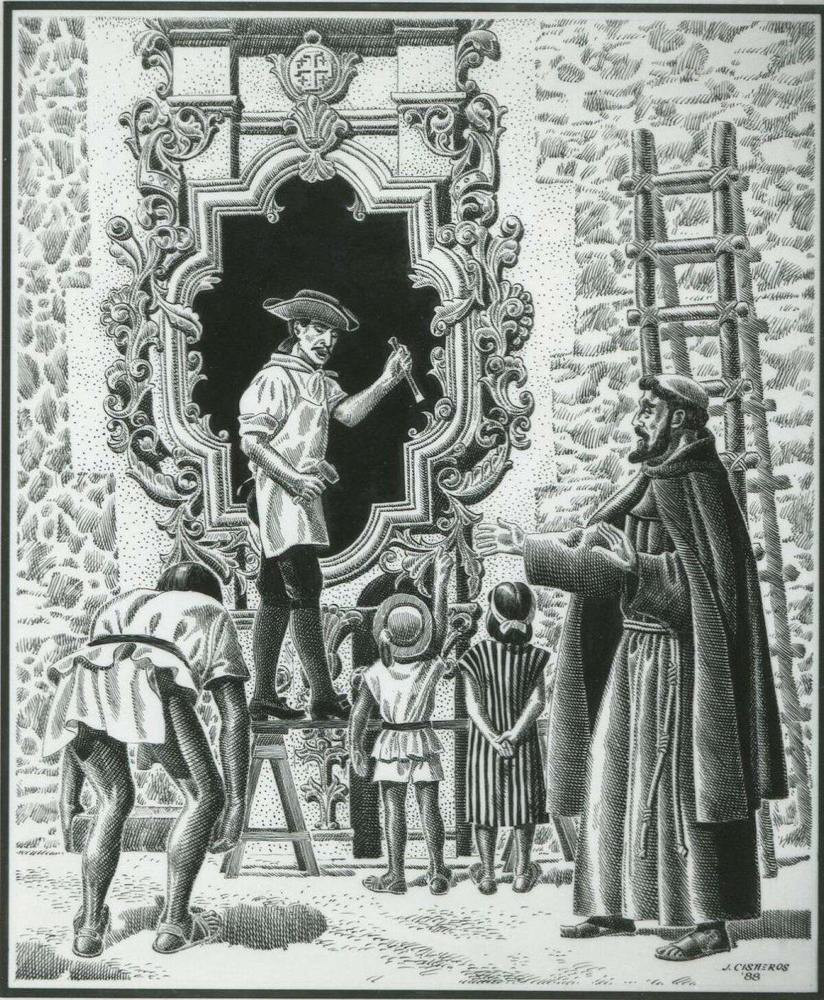 A 1988 drawing by Jose Cisneros depicts sculptor Pedro Huizar working on the Rose Window at Mission San José.