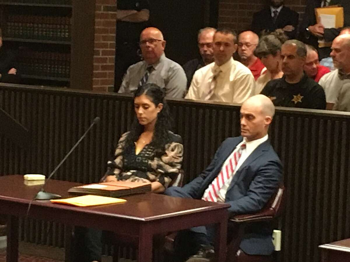 Maria Lentini and her attorney, James Knox, in Saratoga County Court on Thursday, June 1, 2017, where she was sentenced to 1 1/3 to 4 years for leaving the scene in the fatal 2016 crash that killed Patrick Duff, a pedestrian. (Wendy Liberatore/Times Union)