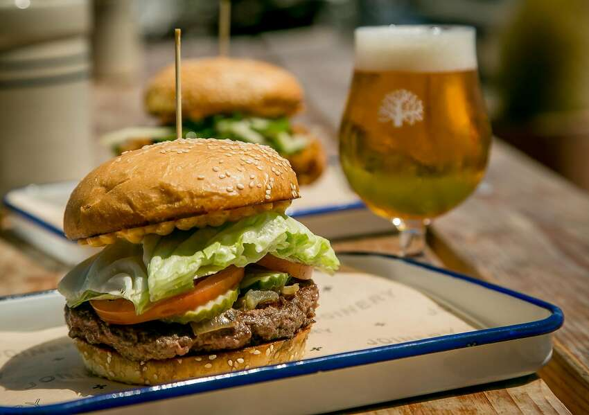 The Hamburger and a beer at Joinery in Sausalito, Calif., is seen on June 1st, 2017.