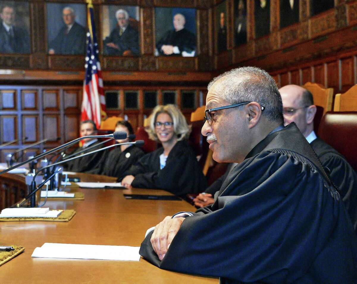 New Court of Appeals Judge Rowan Wilson speaks during his swearing in ceremony Thursday June 1, 2017 in Albany, NY. (John Carl D'Annibale / Times Union)
