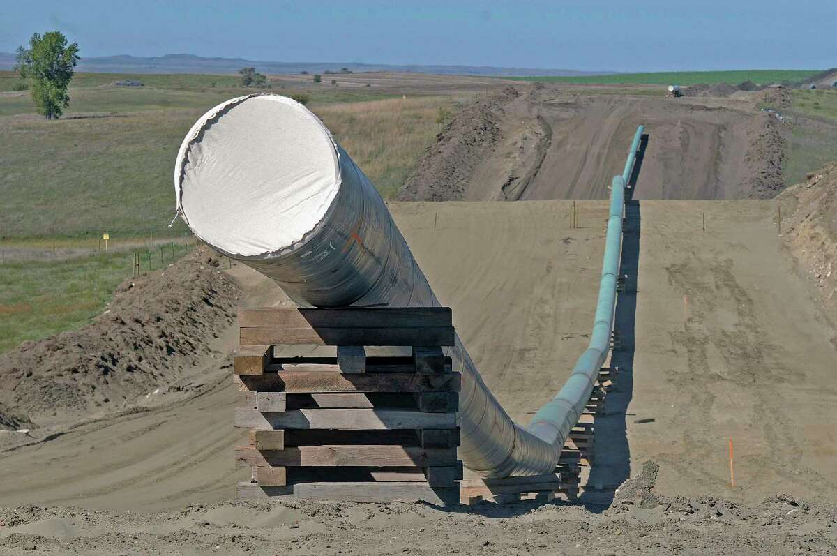 FILE - A section of the Dakota Access pipeline under construction near St. Anthony in Morton County, N.D. (Tom Stromme/The Bismarck Tribune via AP, File)