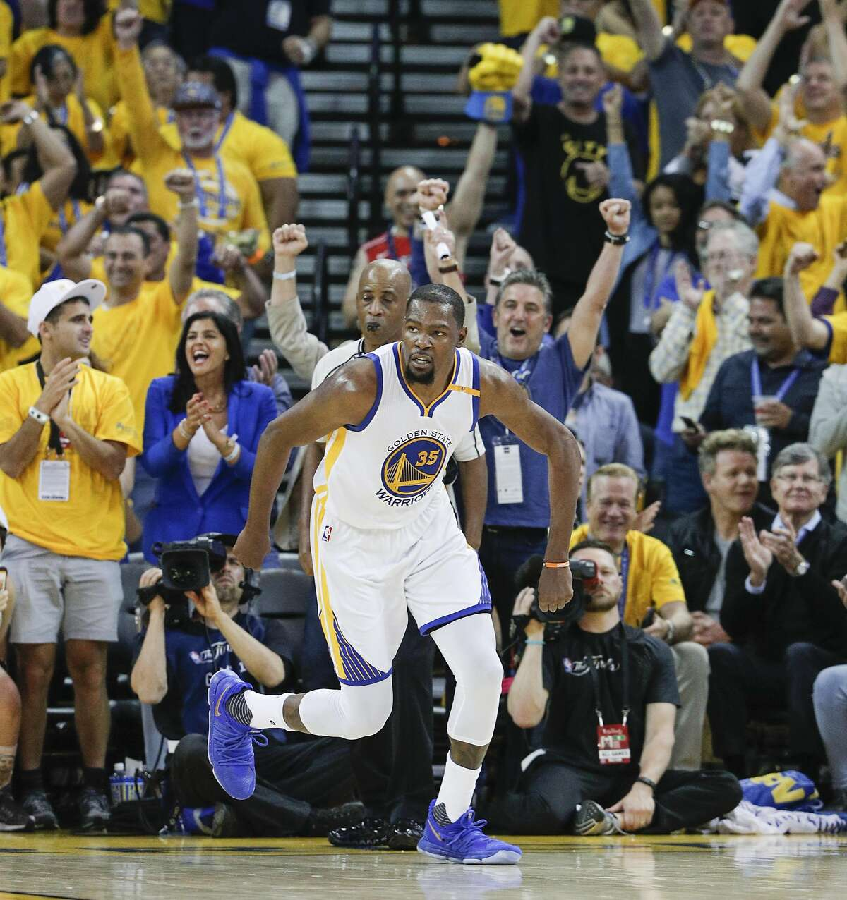 Golden State Warriors' Kevin Durant heads upcourt in the second quarter during Game 1 of the 2017 NBA Finals at Oracle Arena on Thursday, June 1, 2017 in Oakland, Calif.