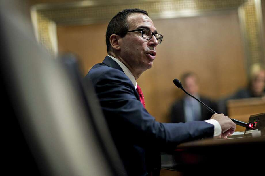 Steven Mnuchin, U.S. Treasury secretary, speaks during a Senate Finance Committee hearing in Washington, D.C., U.S., on Thursday, May 25, 2017. Mnuchin yesterday urged members of Congress Wednesday to increase the U.S. debt ceiling before taking their August recess, as the Trump administration warned that tax receipts were coming in slower than expected. Photographer: Andrew Harrer/Bloomberg Photo: Andrew Harrer / © 2017 Bloomberg Finance LP
