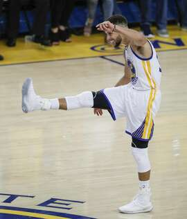 Golden State Warriors' Stephen Curry reacts in the third quarter during Game 1 of the 2017 NBA Finals at Oracle Arena on Thursday, June 1, 2017 in Oakland, Calif.
