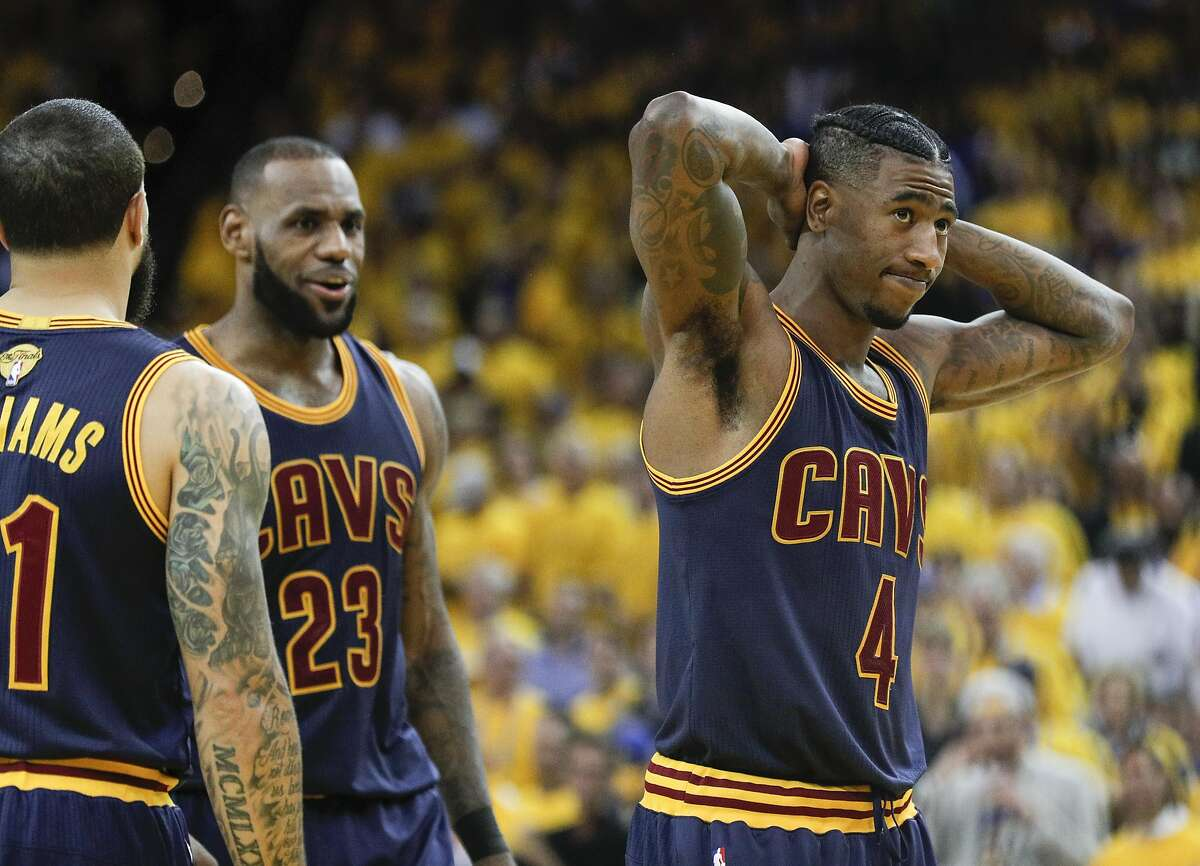 Cleveland Cavaliers' Iman Shumpert is seen during a break in the action in the fourth quarter during Game 1 of the 2017 NBA Finals at Oracle Arena on Thursday, June 1, 2017 in Oakland, Calif.