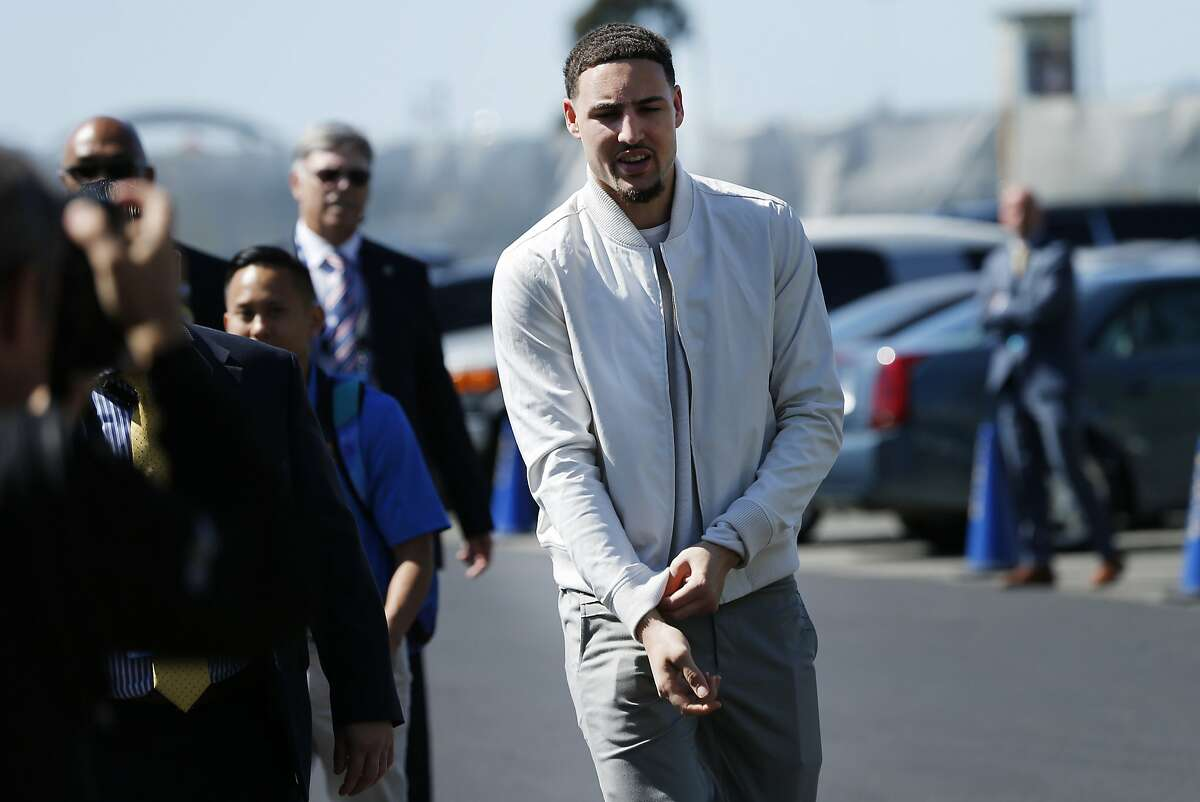 Golden State Warriors guard Klay Thompson (11) arrives at Oracle Arena for Game 1 of the NBA Finals between the Golden State Warriors and the Cleveland Cavaliers on Thursday, June 1, 2017, in Oakland, Calif.