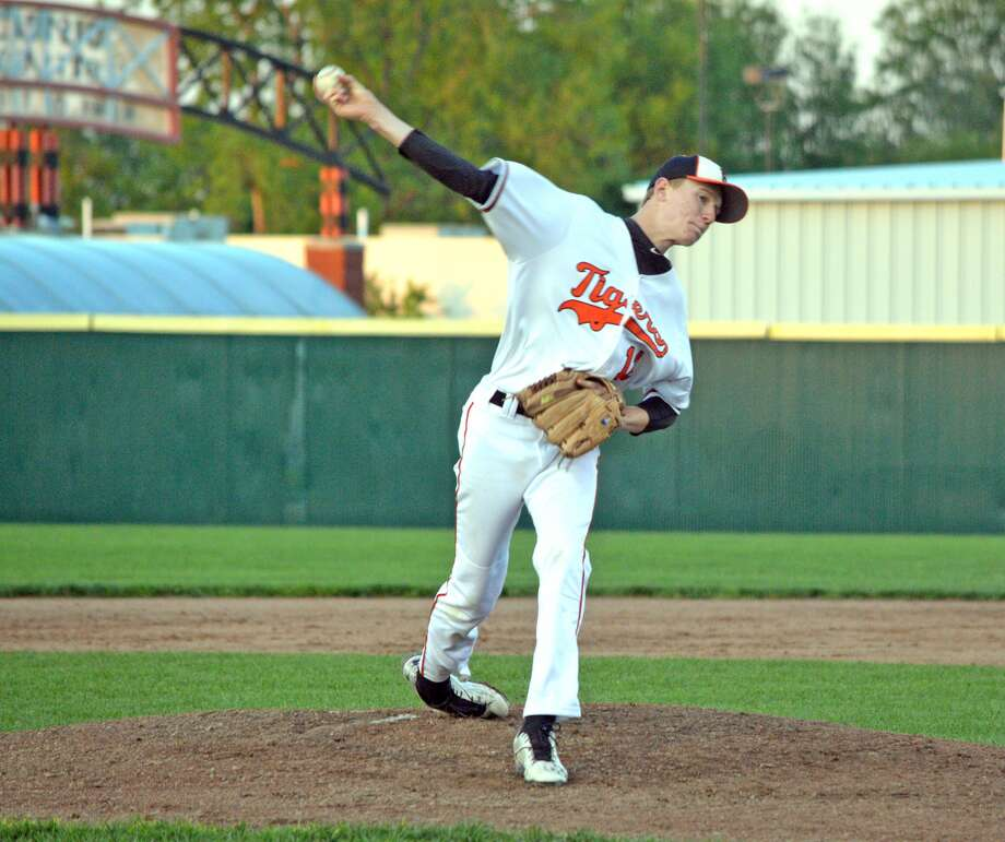 Edwardsville pitcher Andrew Frank throws a pitch during the regular season for the Tigers at Tom Pile Field. Frank will play summer baseball for the Bears.