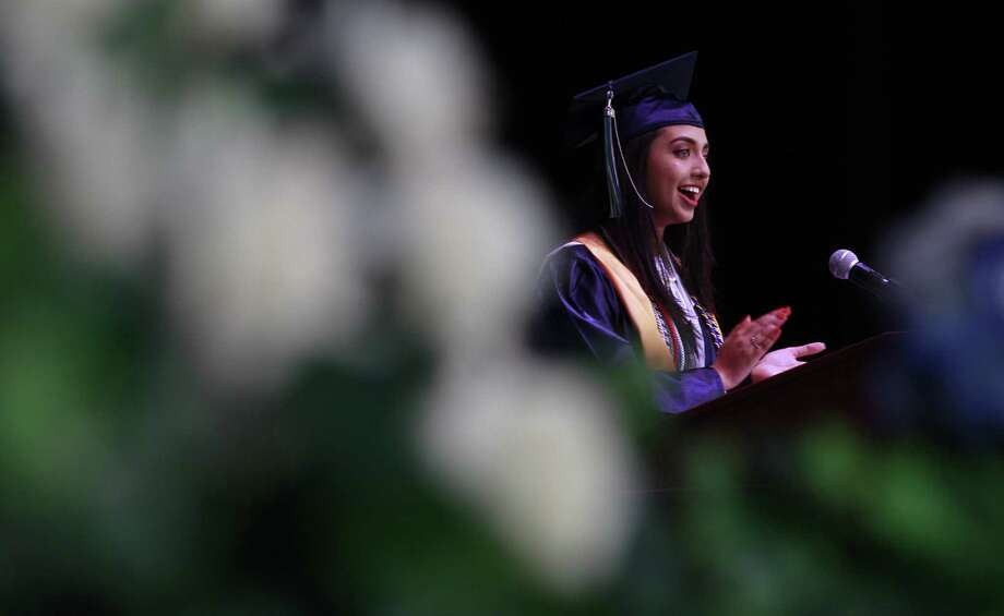 Nivva Emmi speaks during a graduation ceremony at Cynthia Woods Mitchell Pavilion, Thursday, June 1, 2017, in The Woodlands. Photo: Jason Fochtman, Staff Photographer / Conroe Courier / HCN