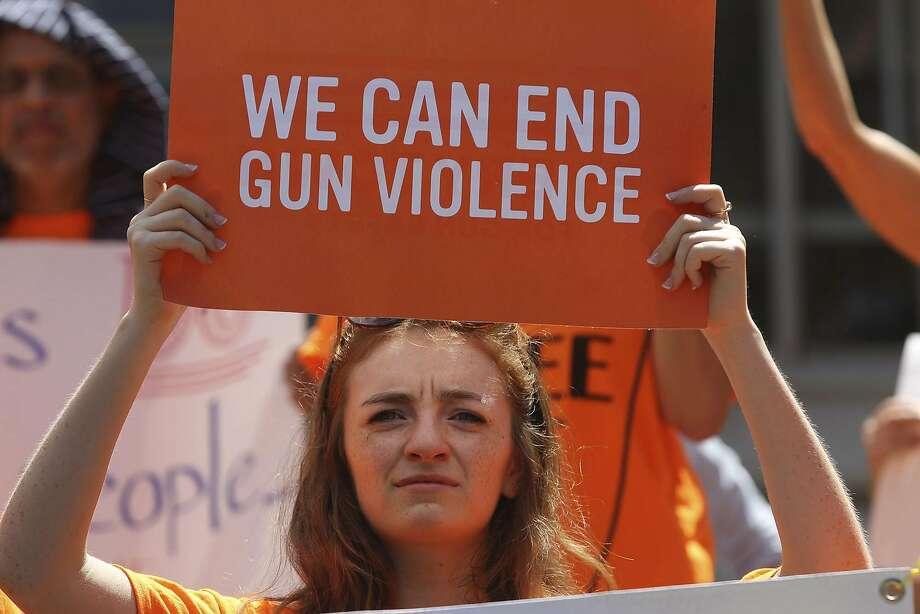 A protester at an anti-gun-violence event in San Antonio, Texas, in August 2016. Photo: John Davenport, San Antonio Express-News