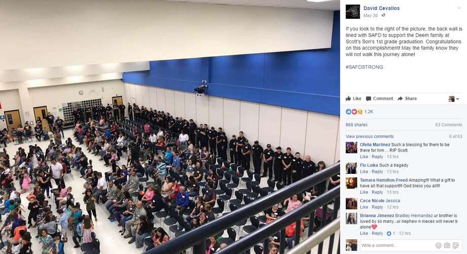 """David Cevallos: """"If you look to the right of the picture, the back wall is lined with SAFD to support the Deem family at Scott's Son's 1st grade graduation. Congratulations on this accomplishment! May the family know they will not walk this journey alone! #SAFDSTRONG"""" Photo: Facebook/David Cevallos"""