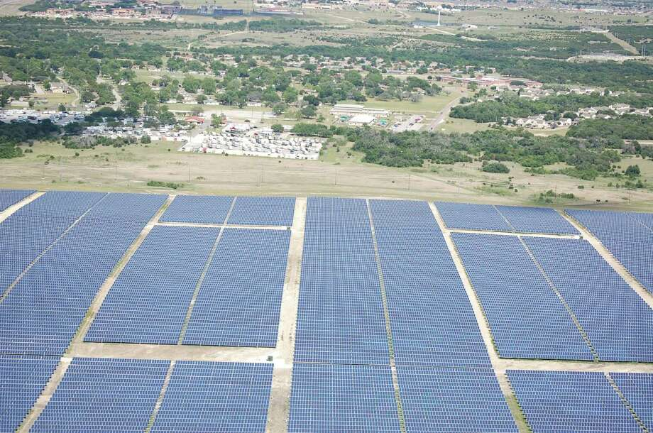 This $100 million, 15-megawatt solar array at Fort Hood was financed and constructed by Virginia-based Apex Clean Energy and will provide power directly into Fort Hood's power grid. Photo: Courtesy Fort Hood