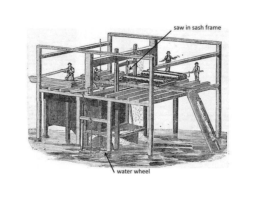 An illustration from an ad for a Hotchkiss vertical water wheel that Harriet George would have used in the sawmill Wilhelm Batke constructed for her Photo: Dan Worrall