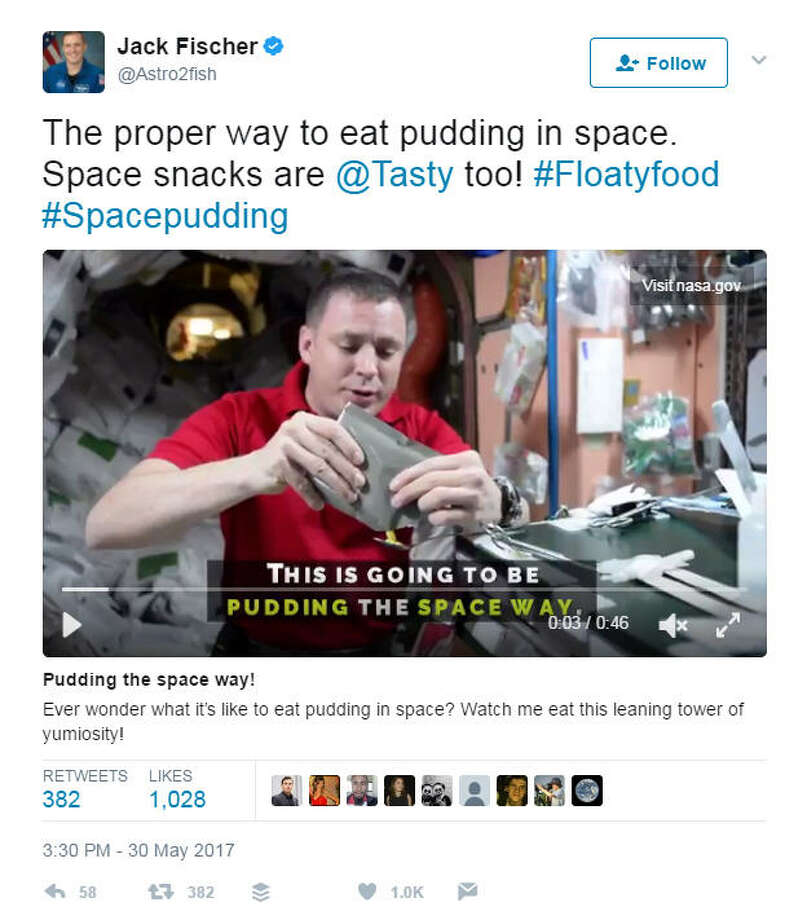 """""""Ever wonder what it's like to eat pudding in space? Watch me eat this leaning tower of yumiosity!"""" (Jack Fischer/Twitter)>>Check out the coolest art NASA has created for its most important achievements."""