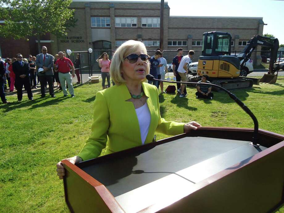Stratford Supt. of Schools Janet Robinson addresses students and teachers at Stratford High School on Friday, June, 2, 2017, during groundbreaking ceremonies. The school will see a major reconstruction project that will take place over the next thee years. SHS was built in the 1920s. Photo: John Burgeson / Hearst Connecticut Media