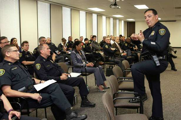 Houston Police Chief Art Acevedo gives his talk to officers during a Command Staff Meeting at Houston Police Department Headquarters Tuesday, May 23, 2017, in Houston.