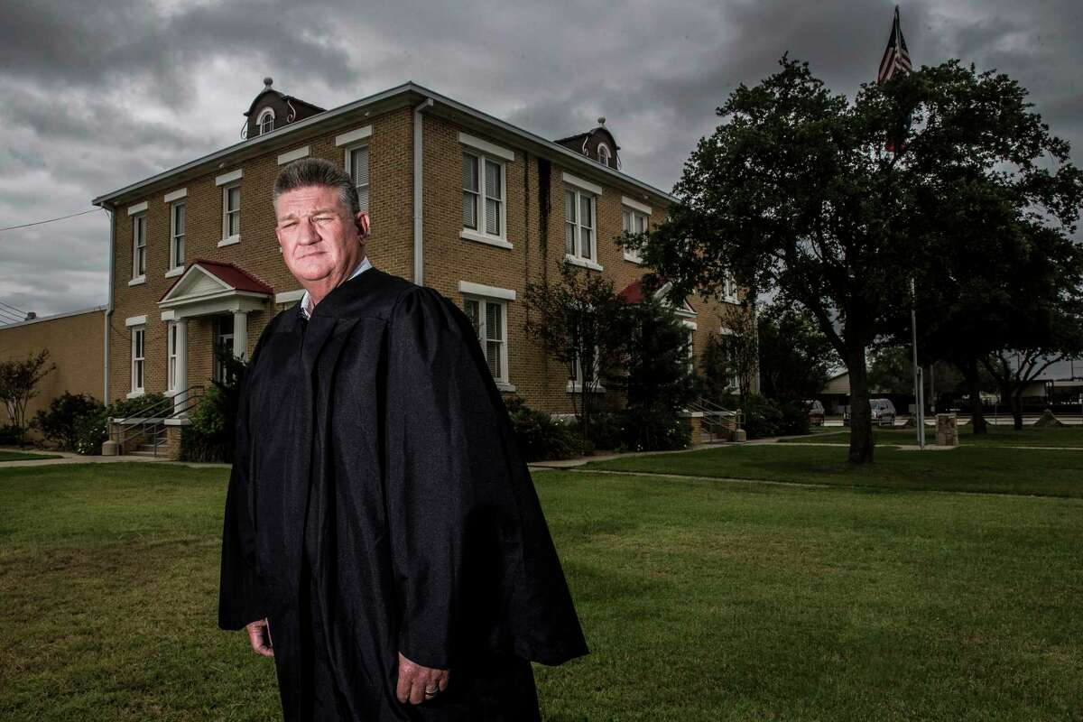 McMullen County Judge James Teal stands for a portrait outside the McMullen County Courthouse Tuesday, May 23, 2017 in Tilden. McMullen County had the highest average gross income in the country in 2015. ( Michael Ciaglo / Houston Chronicle )