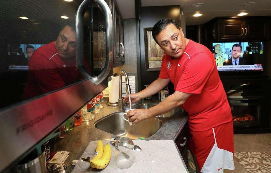 Houston Police Chief Art Acevedo makes coffee in his RV, where he has been living for the past six months, Wednesday, May 24, 2017, in Houston. Photo: Yi-Chin Lee, Houston Chronicle / © 2017  Houston Chronicle