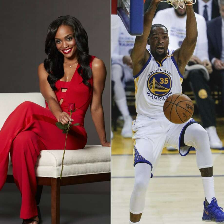 """According to US Weekly, """"Bachelorette""""lead Rachel Lindsay dated Kevin Durant in college.Keep clicking to learn more about Rachel Lindsay. Photo: Hearst"""