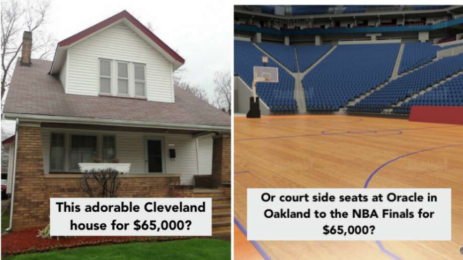 You could buy a home in Cleveland for the price of the best two court side tickets available for a finals game at Oracle Arena in Oakland. Photo: Left: Century 21 Real Estate Right: StubHub.