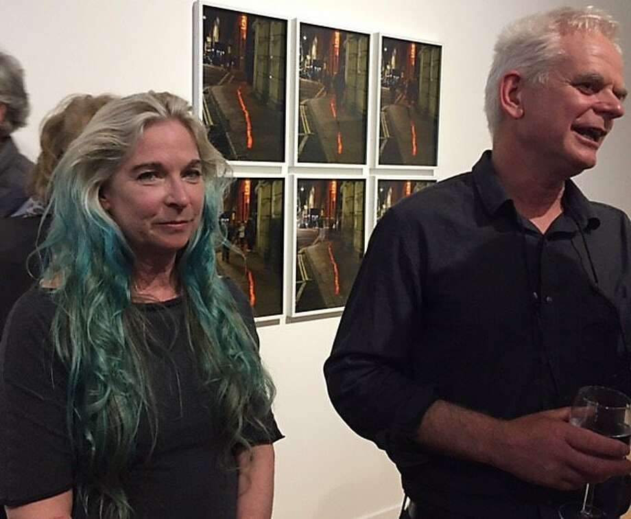 Cheryl Haines and Andy Goldsworthy at her gallery. Photo: Leah Garchik, San Francisco Chronicle