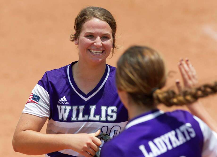 Willis starting pitcher Casey Dixon, left, celebrates with shortstop McKenzie Parker after getting Danielle Northrup #20 of Dripping Springs to fly out to third baseman Samara Lagway for the final out in the seventh inning of a Class 5A semifinal game during the UIL State Softball Championships at Red and Charline McCombs Field, Friday, June 2, 2017, in Austin. Photo: Jason Fochtman, Staff Photographer / © 2017 Houston Chronicle