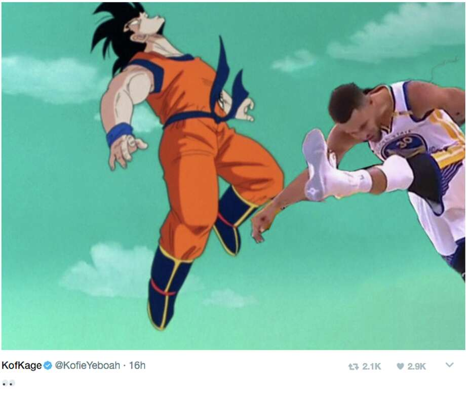 Stephen Curry's celebratory high kicks during Game 1 of the NBA Finals were quickly given the meme treatment on Twitter. Photo: Twitter Screen Grab