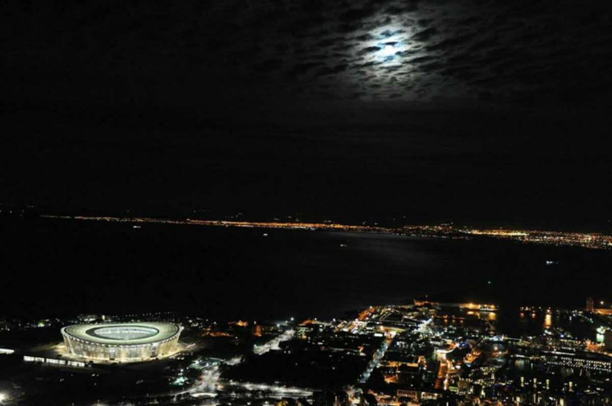 CAPE TOWN, SOUTH AFRICA - DECEMBER 02: A general view of Cape Town Stadium at night ahead of the 2010 FIFA World Cup on December 2, 2009 in Cape Town, South Africa. (Photo by Darren Stewart/Gallo Images/Getty Images)