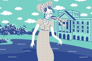 """Jade Young, who works under the artist name Jade O'Lantern, has created artwork for the """"Summer of Austen"""" - including a mural on the front windows of Brazos Bookstore."""