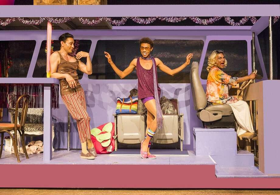 """Rudy Guerrero (left) is Tick, Charles Peoples III is Adam and Darryl V. Jones is Bernadette in """"Priscilla, Queen of the Desert."""" Photo: David Wilson, Theatre Rhinoceros"""