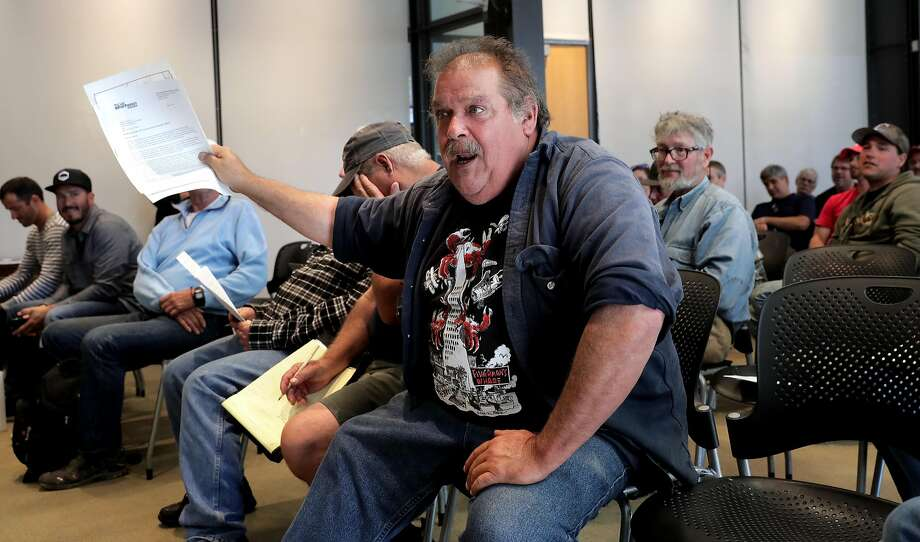 Larry Collins, president of the crab boat owners association makes a point, as the Port of San Francisco holds a public discussion in San Francisco, Ca., on Friday June 2, 2017, on the subject of whether to continue to allow fishermen to sell fish (but not crab) directly from their boats. Photo: Michael Macor, The Chronicle