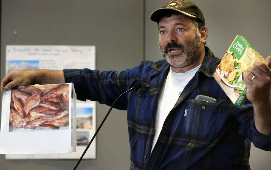 """Joe Pennisi, owner of the fishing boat """"Pioneer"""", compares his fresh caught fish to frozen fish during comments as the Port of San Francisco holds a public discussion in San Francisco, Ca., on Friday June 2, 2017, on the subject of whether to continue to allow fishermen to sell fish (but not crab) directly from their boats. Photo: Michael Macor, The Chronicle"""