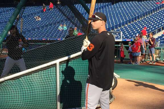New Giants outfielder Austin Slater prepare to take batting practice Friday.