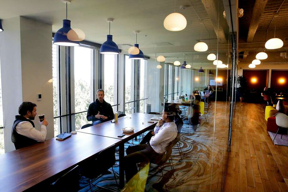 The offices of WeWork in the Embarcadero 2 building in San Francisco in June. Until recently, WeWork advertised beer on tap as a workplace amenity to businesses who lease space from it. Photo: Michael Macor, The Chronicle
