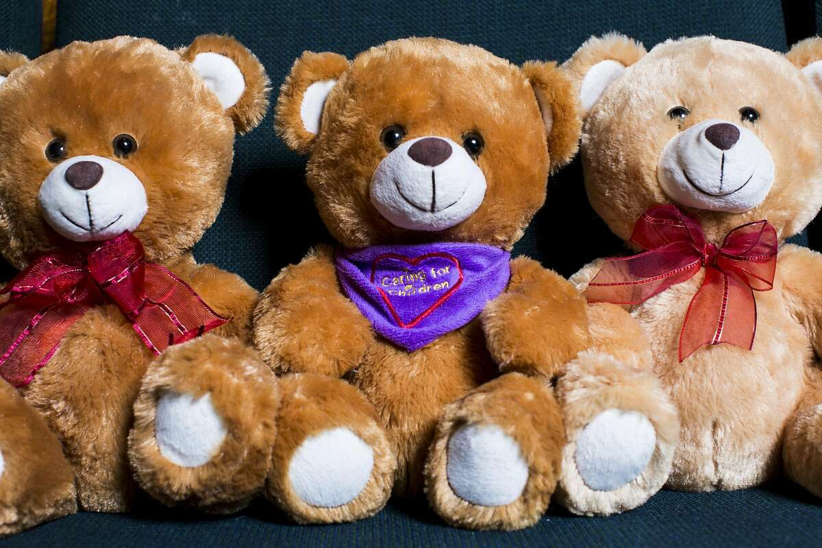 Three sample teddy bears from Caring For Children, a non-profit that sends teddy bears as therapeutic tools to emotionally deprived children, are seen at Congregation Emanu-El San Francisco in San Francisco, Calif. on Friday, June 2, 2017. Caring For Children will be sending 5,000 teddy bears in an effort to help Syrian refugee children in Jordan on June 3.