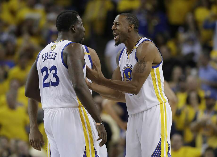Golden State Warriors forward Draymond Green (23) and forward Andre Iguodala (9) celebrate during the second half of Game 1 of basketball's NBA Finals against the Cleveland Cavaliers in Oakland, Calif., Thursday, June 1, 2017. (AP Photo/Marcio Jose Sanchez) Photo: Marcio Jose Sanchez, Associated Press