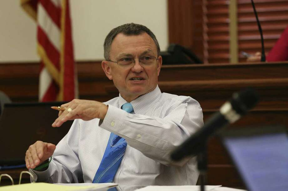 "DeWitt County Judge Daryl Fowler asked if there was a safe harbor for counties that acted in good faith when they established reinvestment zones. But, he said, ""Our counsel said if the courts find that it's an unconstitutional taking, there is no safe harbor."" Photo: JERRY LARA /San Antonio Express-News / © 2017 San Antonio Express-News"