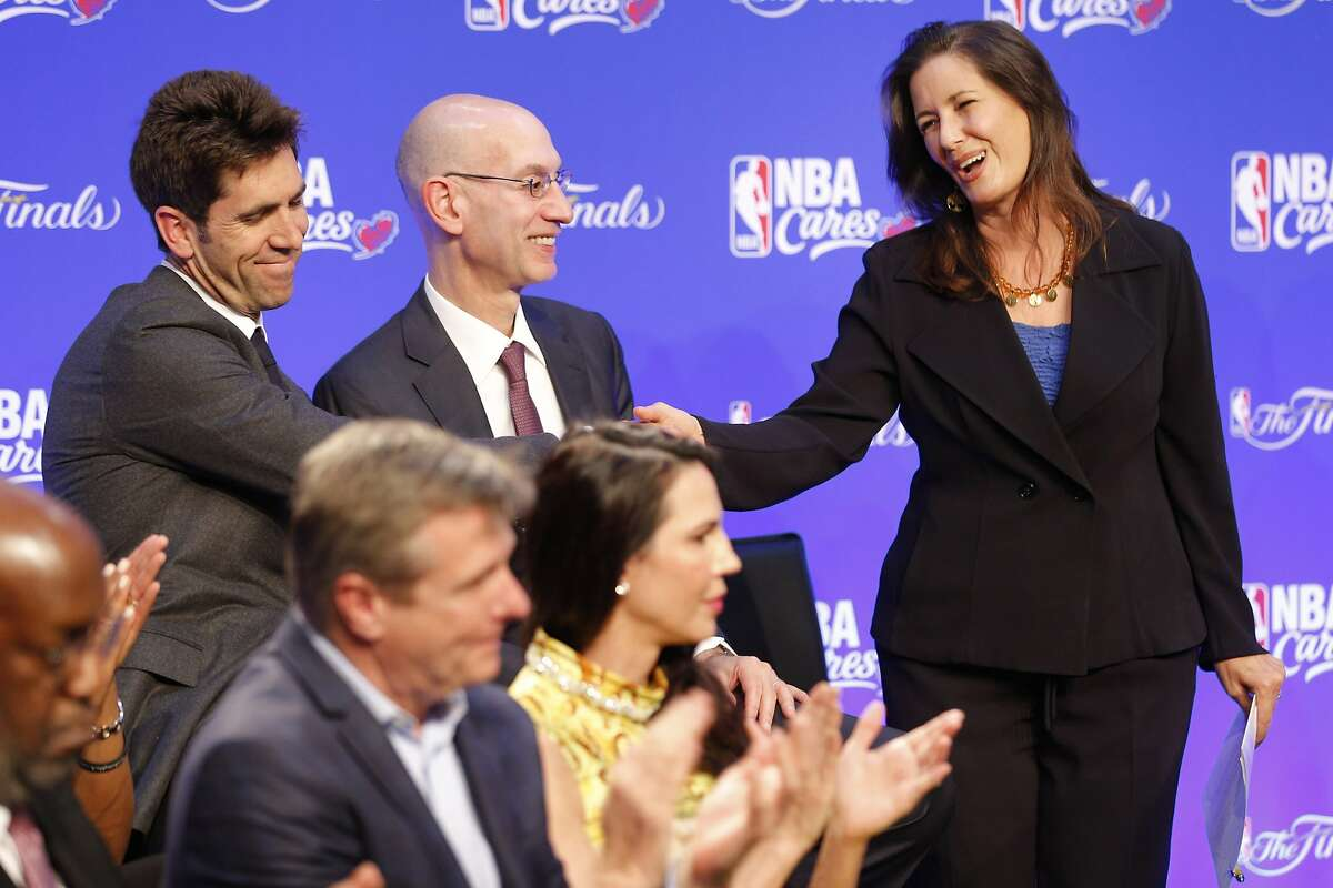 From left: Golden State Warriors general manager Bob Myers, NBA commissioner Adam Silver and Oakland mayor Libby Schaaf at Westlake Middle School on Friday, June 2, 2017, in Oakland, Calif. As part of The Finals 2017, the NBA and the Golden State Warriors, in partnership with Kaiser Permanente and State Farm, will open a new NBA Cares Learn & Play Zone at Westlake Middle School. The Learn & Play Zone will provide youth with a safe place to play and resources to help them explore educational interests.