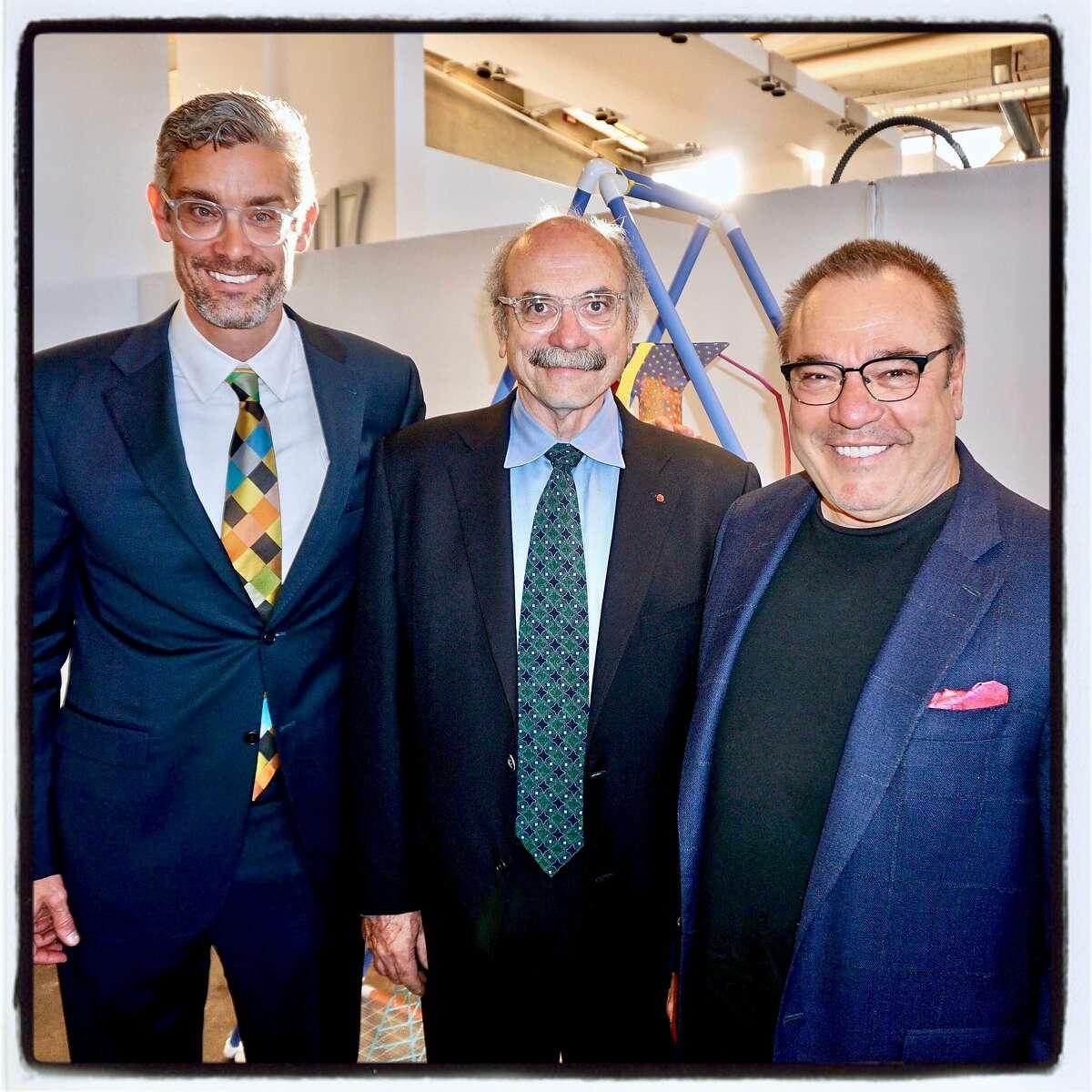 Exploratorium Director Chris Flink (left) with IDEO founder David Kelley and CCA trustee Stanlee Gatti. May 23, 2017.