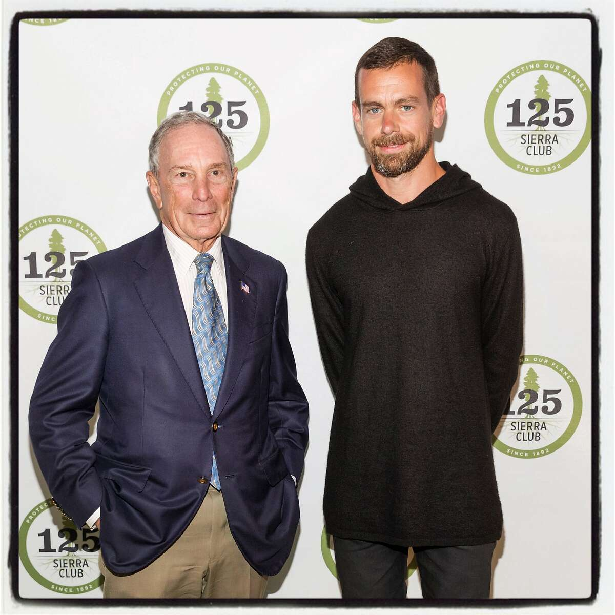 Philanthropist Michael Bloomberg (left) and Twitter CEO Jack Dorsey at The Sierra Club's 125th Anniversary Trail Blazers Ball. May 18, 2017.