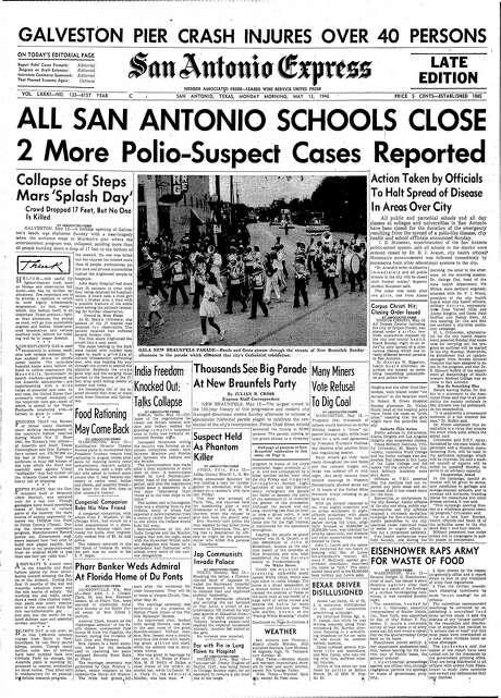 The May 13, 1946, San Antonio Express carried a big headline about a polio epidemic closing local schools. The schools were closed for more than a week. Photo: San Antonio Express-News Archives