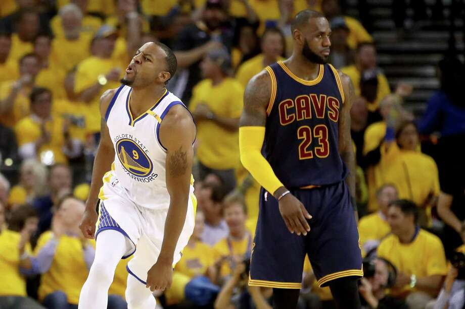 Andre Iguodala, left, has been the Warriors' go-to guy when it comes to trying to contain explosive Cavaliers superstar LeBron James. Photo: Ezra Shaw, Staff / 2017 Getty Images